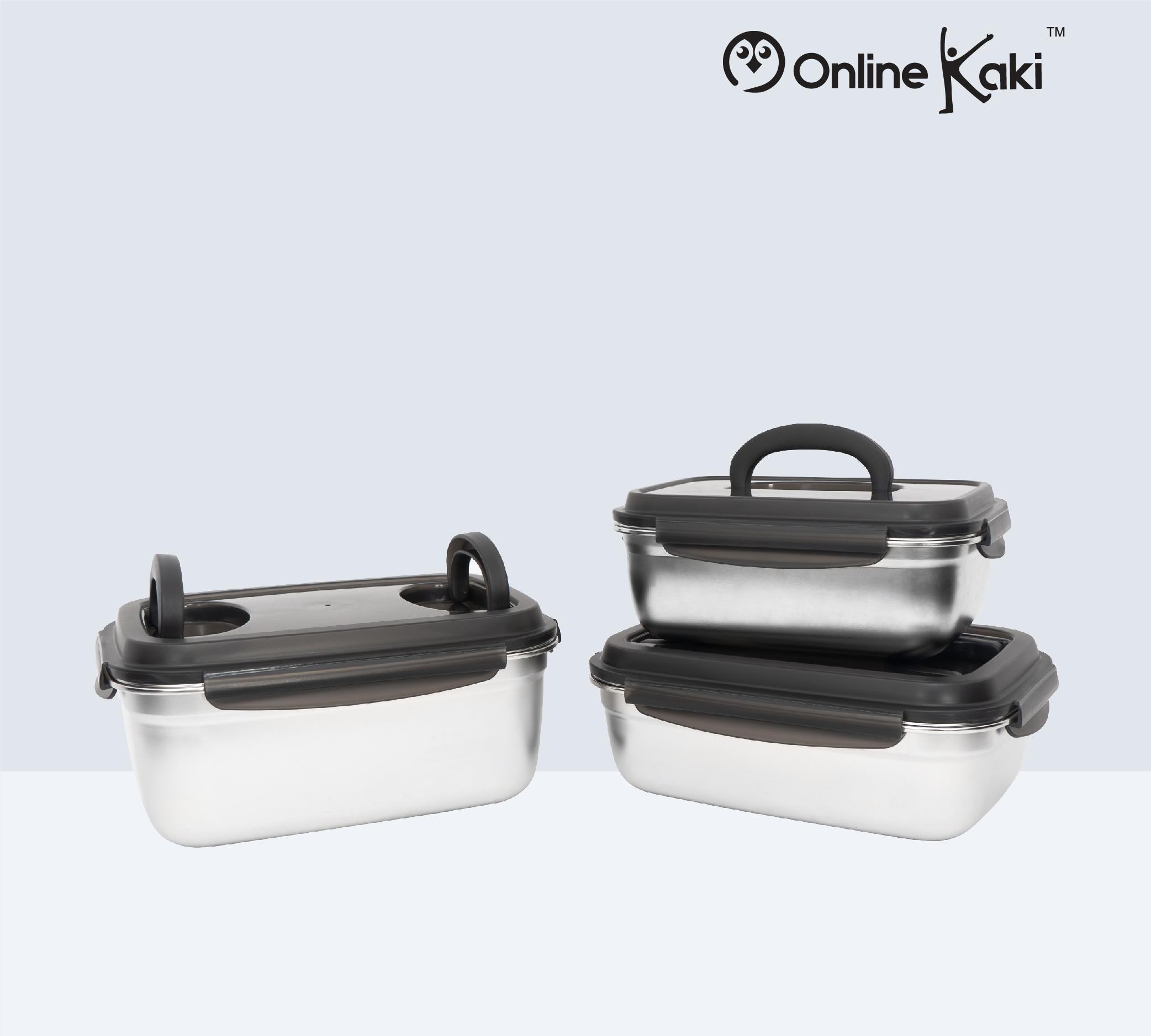 3.8L EXE-STAINLESS STEEL FOOD STORAGE 高级304砂钢料理盒 (FS2875)