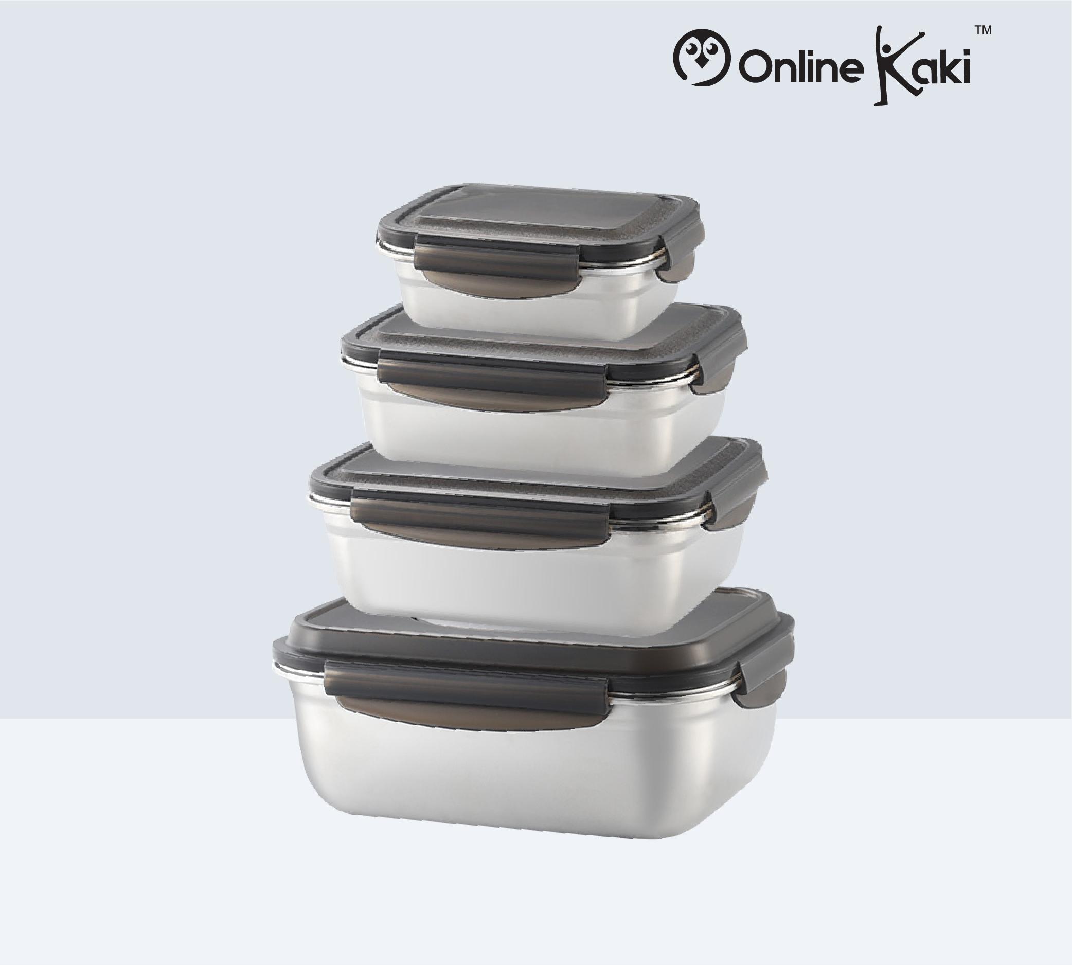STAINLESS STEEL FOOD STORAGE FS 2878 SET 不锈钢保鲜盒装